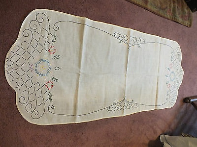 Beautiful Embroidered Doily Dresser Scarf Off White Floral Black Blue Red Green