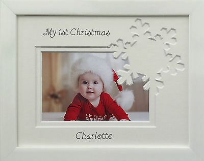 Personalised My First Christmas Novelty Photo Frame - Snowflake 9 x 7