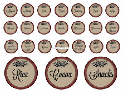 Vintage Image Primitive-Like Round Spice Pantry Labels  Waterslide Decals KI377