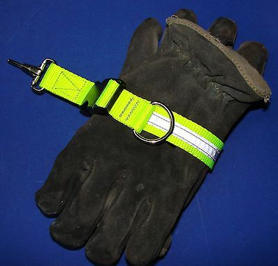 Sav-A-Jake Firefighter Glove Strap Quick Release Yellow w/3M Silver Reflective