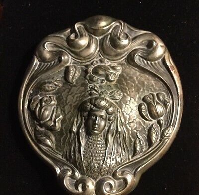 Great Nouveau Lady VICTORIAN HAND MIRROR silveroin
