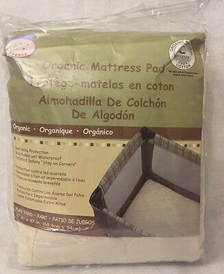 "Snoozy Organic Cotton Fitted Play Yard Mattress Pad,  27"" X 37"", New"