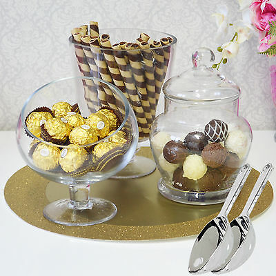 Candy Jars Lolly Buffet 3 x Jar Set + 2 Scoops Apothecary Wedding Party