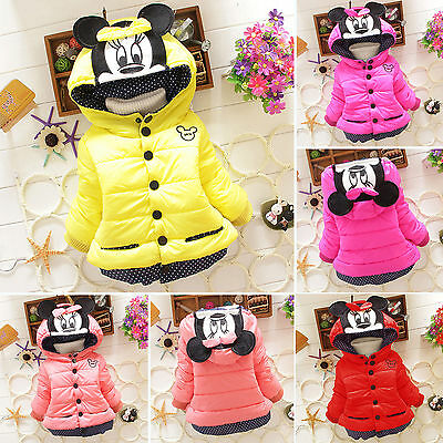 Baby Kids Girls Toddler Minnie Mouse Hoodie Jacket Padded Coat Outwear Snowsuits