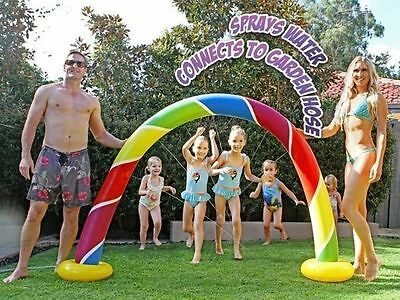 Inflatable Sprinkler Rainbow arch 2.2m x 1.42m high pool toy cool soaking for ki