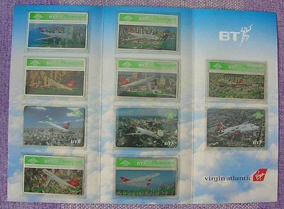 Phonecards set of 10 BT Telephone cards + book Virgin Airline