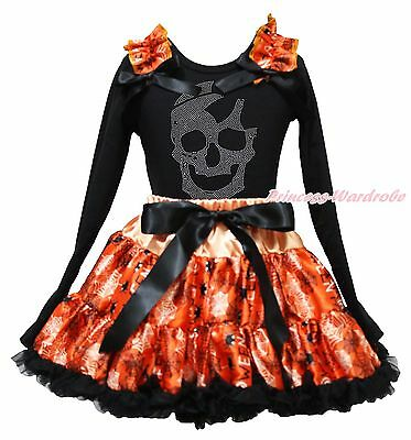Rhinestone Skull Halloween Black Top Shirt Spider Web Skirt Girl Outfit Set 1-8Y