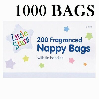 1-1000 Disposable Baby Fragranced Scented Nappy Bags Hygienic Tie Handle