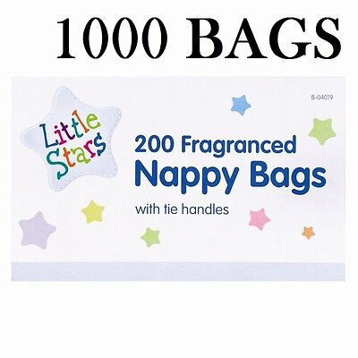 1000 Disposable Baby Fragranced Scented Nappy Bags Hygienic Sack With Tie Handle