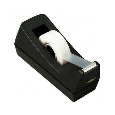 Scotch Tape Dispenser Black Heavy Duty Desktop One Handed Dispensing Solid Rolls