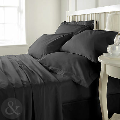 Black - 400 Count 100% Egyptian Combed Cotton Bedding, Fitted, Flat, Duvet Cover