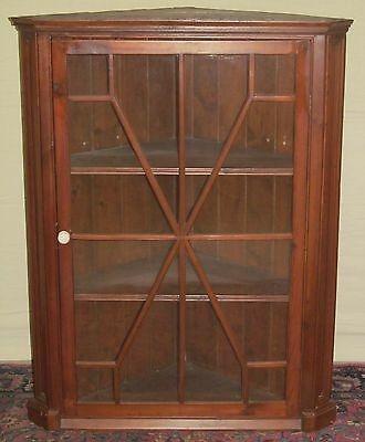 18Th Century Queen Anne Period Wall Hung Corner Cabinet With 12 Light Doors