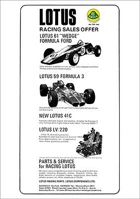 Lotus Racing Sales Lotus Single Seaters 61 59 Retro A3 Poster Print From Advert