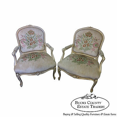 Pair of Louis XV French Paint Decorated Arm Chairs Fauteuil