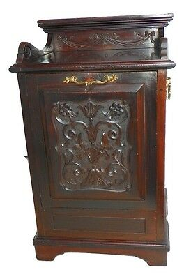 Antique English Edwardian Dark Walnut Coal Hod. Circa 1890.