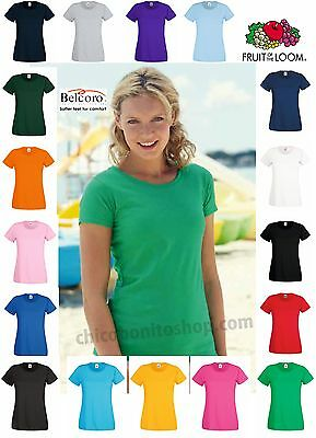 T-Shirt Donna  Fruit Of The Loom  Tutti I Colori Maglia 613720 Lady Fit Sagomata