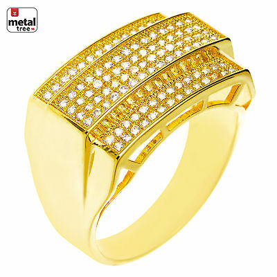 Men's Fashion Hip Hop 14k Gold Plated Hand Set CZ Double Rectangle Pinky Rings