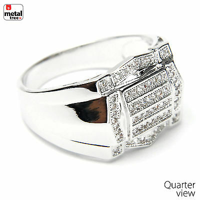 Men's Hip Hop Iced Out Brass RH Plated Hand Set CZ Bling Style Pinky Ring