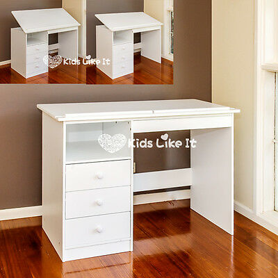 WHITE 100CM Adjustable WOODEN STUDY DESK DRAWING BOARD LAPTOP TABLE 3 DRAWER NEW