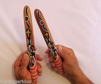 Aboriginal Tapping Clap Sticks Handcarved Dot-Painted Wood Didgeridoo Percussion