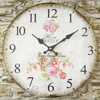 Large Vintage Shabby Chic Style ROSE wall CLOCK Live Laugh Love French clock
