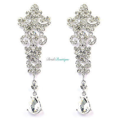 Silver Crystal Diamante Vintage Style Chandelier Long Drop Dangle Earrings