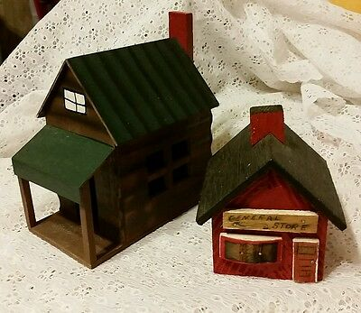 Miniature Wooden Cabin & General Store