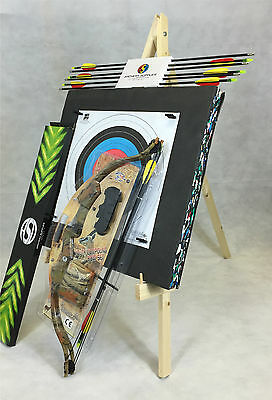 ASD 20Lbs Youth Camo Compound Archery Bow Set W/ 8 Arrows, Target Boss & Stand