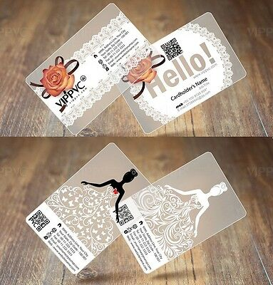 1000 PVC Plastic Hotal / Business Cards Printing - Frost Transparent W White Ink