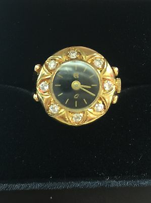 18K GOLD ART DECO RING WATCH with  Diamonds