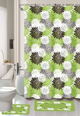 Erica Sage Green Brown Floral Banded Fabric Hook Shower Curtain Bathroom Set New