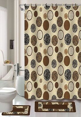 Alan Brown Zebra Animal Print Banded Fabric Hook Shower Curtain Bathroom Set New