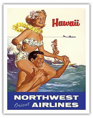Northwest Orient Airlines HAWAII Surf 1960s Vintage Travel Poster Fine Art Print