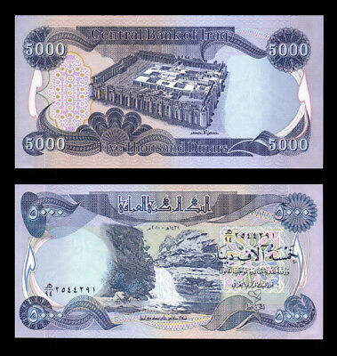 5,000 Iraqi Dinar Uncirculated Lot Of 1 Note- Only 30 Left