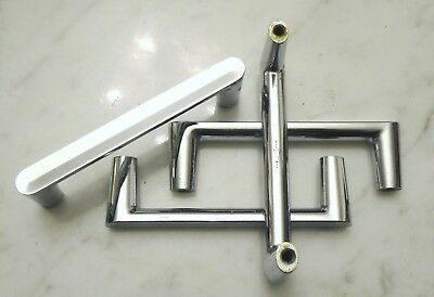 "Set of 12 Vintage 3 1/2in Chrome Silver Cabinet Dresser Drawer Pull Handles ""W"""
