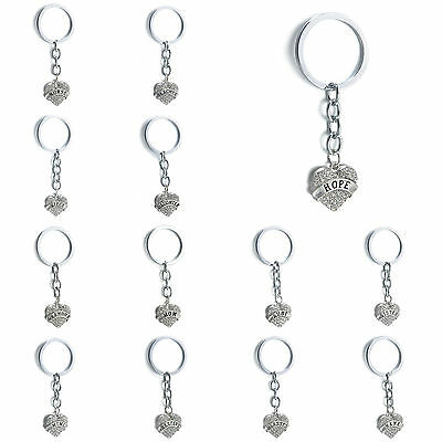 Cute Crystal Love Heart Pendant Key Ring Keychain Family Friend Key Chain Gifts