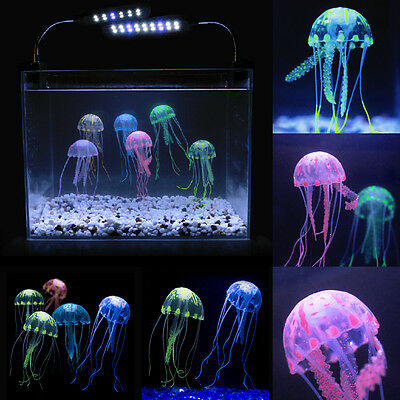 Méduse Artificiel Fausse Silicone Mou Fluorescente Ornement Décor Aquarium Fish
