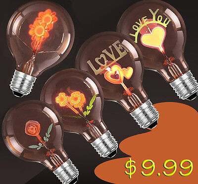 E27 Flower Love Bulb Edison Retro Filament Light Chrismas wedding Decor Lamp