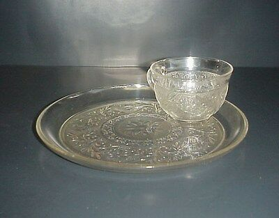 Anchor Hocking Sandwich Glass Lunch Snack Tray Plate & Cup Vintage Set
