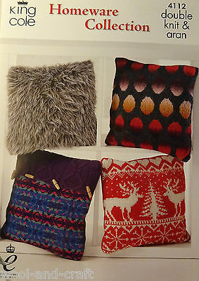 King Cole Homeware Collection Winter Cushions Aran & Dk Knitting Pattern (4112)