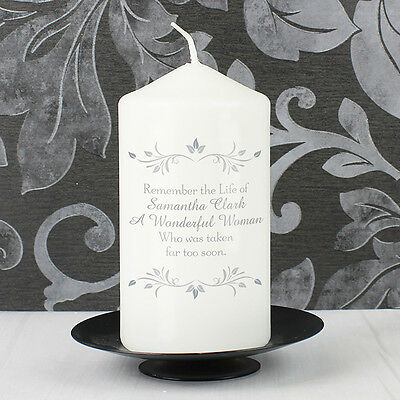 Personalised MEMORIAL CANDLE - Rememberance Candle - Bereavement Gift - Sympathy