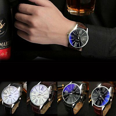 Fashion Men's Leather Military Casual Analog Quartz Wrist Watch Business Watch