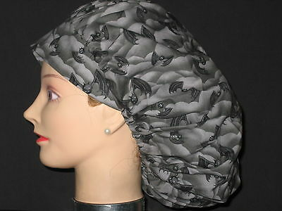 Surgical Scrub Hats/Caps Halloween  Spooky Gray with Black Bats