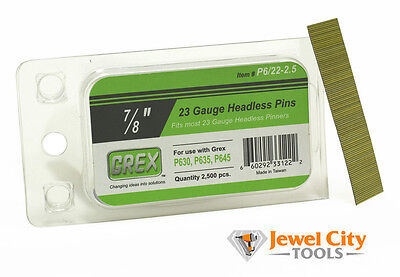 "Grex 23 Gauge Headless Micro Pins P6/22-2.5 7/8"" long 2,500 Per Box"
