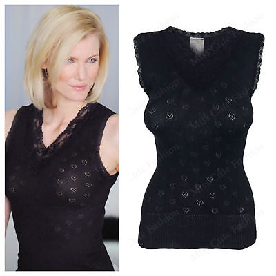 New Womens Ladies Soft Warm Winter French Trim V Neck Thermal Vest Top Spencer