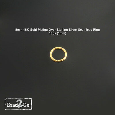 18K Gold Plated Over Sterling Silver Ring 18ga- Gold Seamless Ring Body Piercing