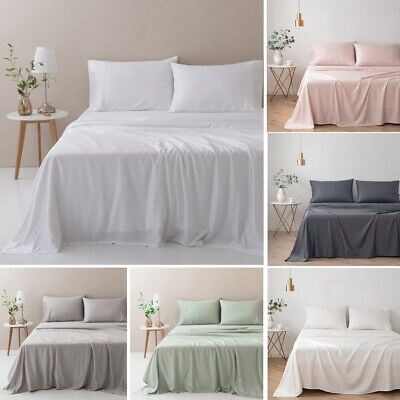 100% Organic Pure Bamboo Bed Sheet Set 400TC - Queen King Multi Colours AU Stock