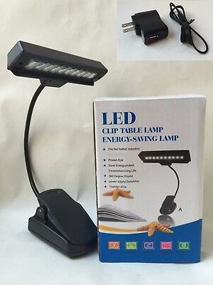 10 LEDs Adjustable Portable Clip-On Music Stand Reading Lamp Light + AC Adapter