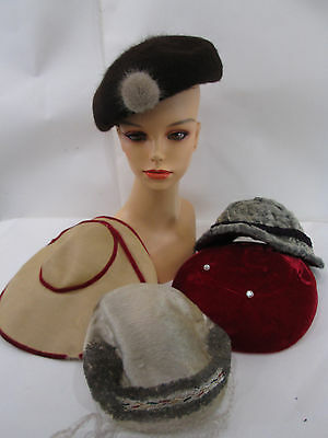 Vintage Lot of Ladies Hats- Wide 40's, Curly Lamb, Wool Beret and Red Velvet