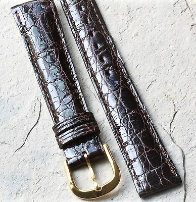 Short Length brown Genuine Crocodile 16mm vintage watch strap Made in France NOS